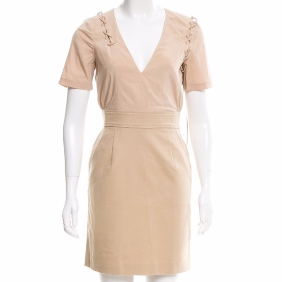 Mackage Dresses & Skirts - Mackage Lace Up Nude Mini Dress Short Sleeve Vneck